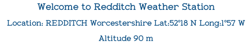 Welcome to Redditch Weather Station